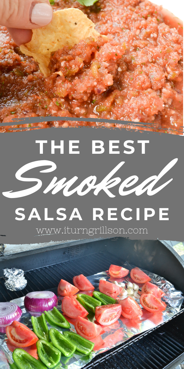 If you love salsa then kick it up a notch and try out this Homemade Smoked Salsa recipe! Whether you have a Traeger or another pellet smoker, you can do this on any smoker you like...this recipe with fresh tomatoes can be canned or served fresh that day! We walk you through how to smoke the best smoked salsa that's both fresh and made as spicy or mild as you'd like! #smokedsalsa #traeger #pelletgrill #homemade